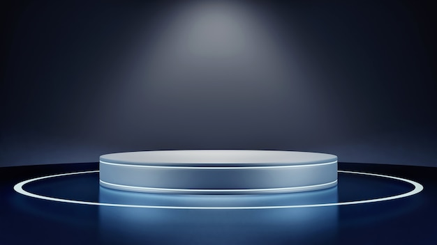 Maquete geométrica do palco na cor azul