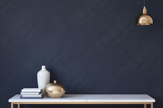 Maquete interior com parede azul dack. adesivo mock-up.3d render.