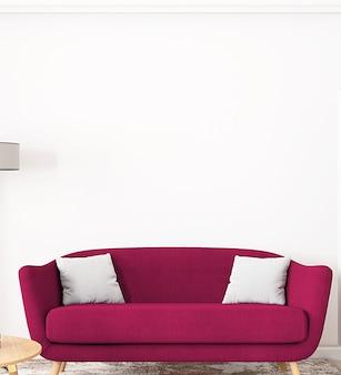 Maquete interior da sala de estar e sofá vermelho