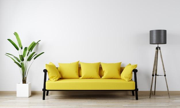 Maquete interior de casa com sofá amarelo, flor e lâmpada gloor na sala de estar, renderização em 3d