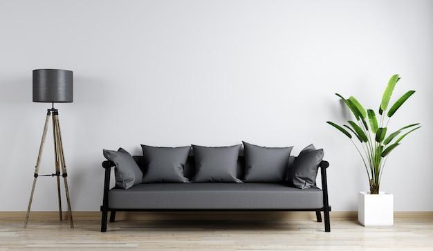 Maquete interior de casa com sofá cinza, flor e lâmpada gloor na sala de estar, renderização em 3d