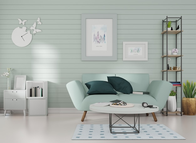 Maquete interior um porta-retratos é afixado a um sofá azul em uma sala com ripas azuis na parede