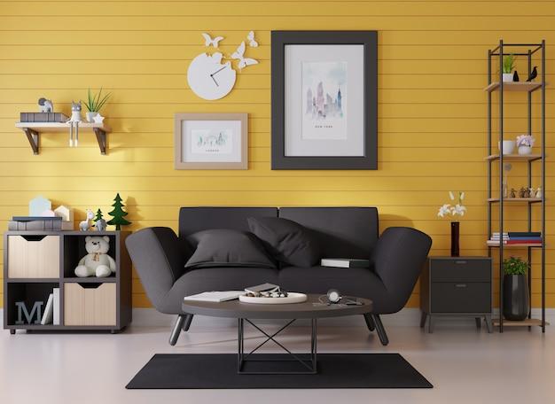 Maquete interna de um porta-retrato afixado a um sofá preto em uma sala com ripas azuis na parede
