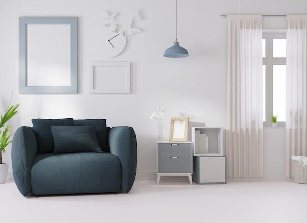Maquete interna em uma sala branca, um sofá azul é colocado ao lado de uma moldura de foto na parede