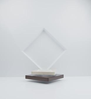 Maquete mínima em mármore e pódio de madeira no fundo do retângulo