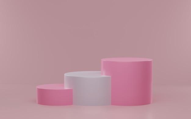 Maquete minimalista para exibição no pódio ou vitrine. pódio do cilindro de renderização 3d.