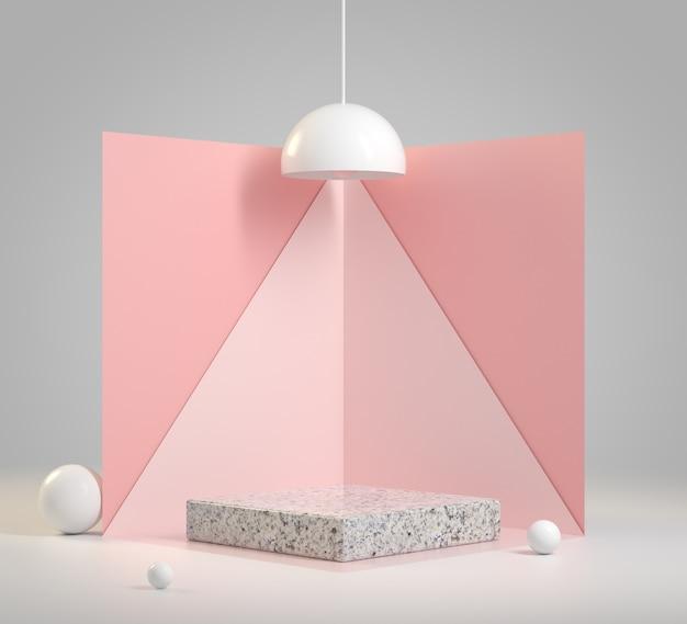 Maquete mínimo pódio com fundo rosa claro conceito abstrato renderização em 3d