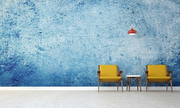 Maquete moderna de decoração e móveis e sala de estar e design de interiores de fundo de textura de parede azul