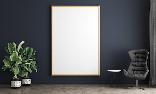 Maquete moderna de design de decoração de sala de estar e fundo de textura de parede azul vazia e porta branca