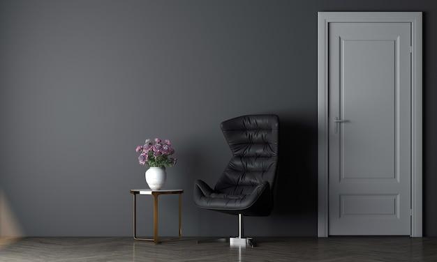 Maquete moderna de design de decoração de sala de estar moderna e aconchegante e fundo de textura de parede azul vazia, renderização em 3d