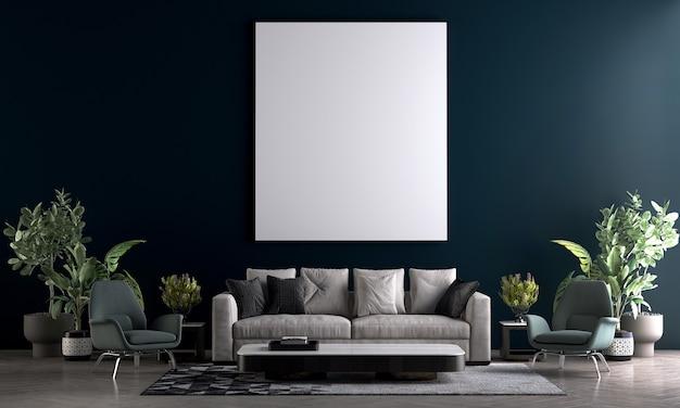 Maquete moderna e aconchegante e móveis de decoração de sala de estar e uma tela vazia em fundo de textura de parede azul. renderização 3d