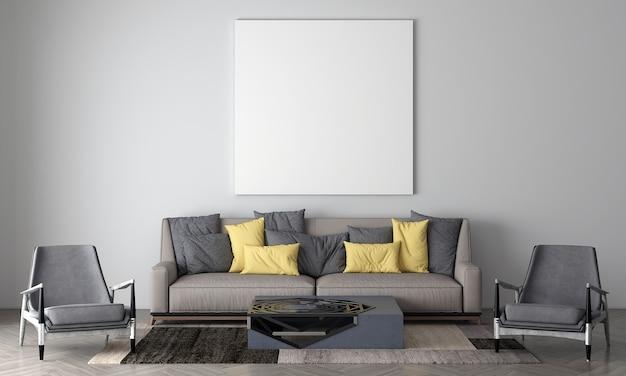 Maquete moderna e aconchegante e móveis de decoração de sala de estar e uma tela vazia em fundo de textura de parede branca. renderização 3d