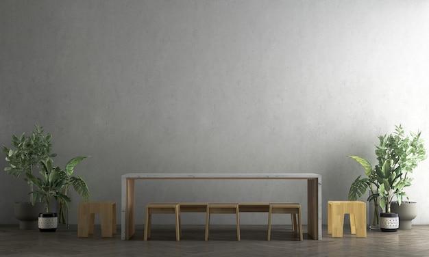 Maquete moderna e aconchegante e móveis de decoração de sala de jantar e fundo de textura de parede de concreto renderização 3d