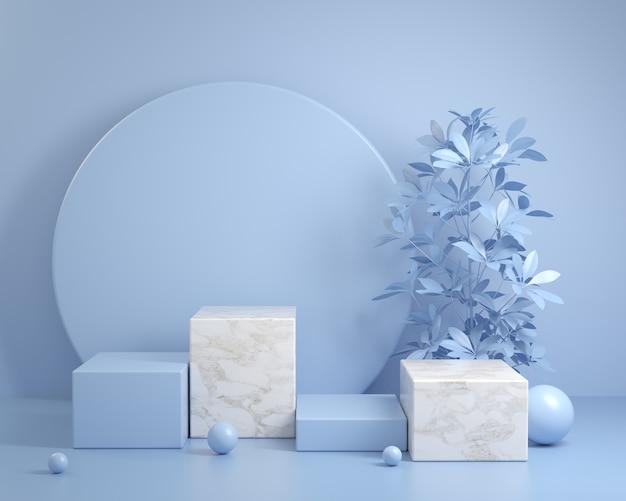 Maquete moderna e mínima cena de pódio azul para mostrar produtos com fundo vegetal renderização em 3d