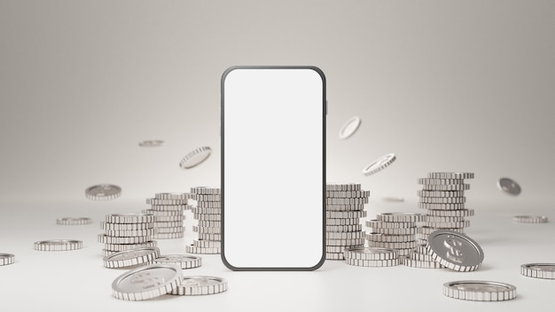 Maquete móvel de tela branca com pilha de moedas de prata em fundo branco.