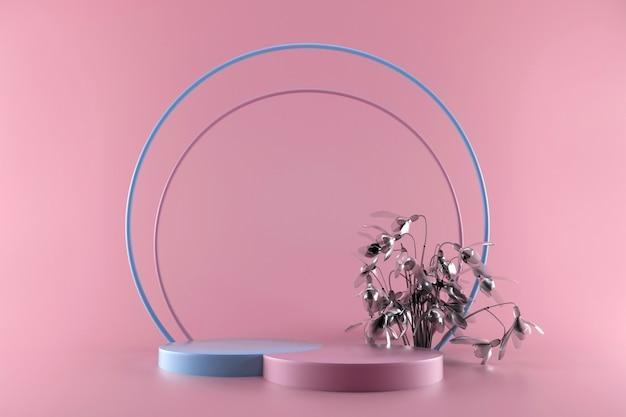 Maquete ou plano de fundo 3d pastel rosa e azul. palco ou plataforma geométrica abstrata mínima em branco com flores de prata para apresentação do produto