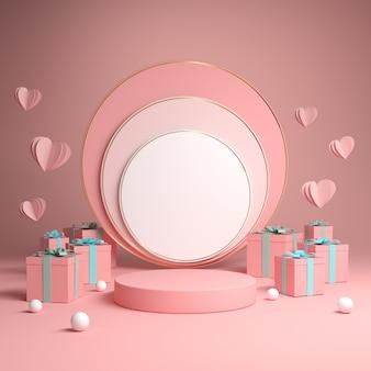 Maquete pódio rosa comemorar conceito caixa de presente 3d render