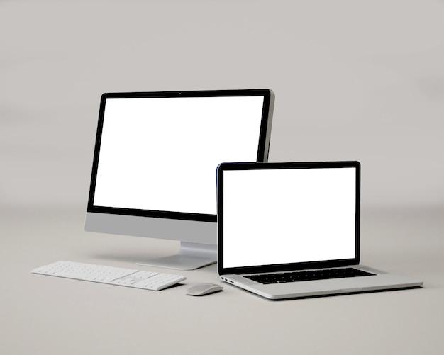 Maquete portátil pc du bureau et ordinateur