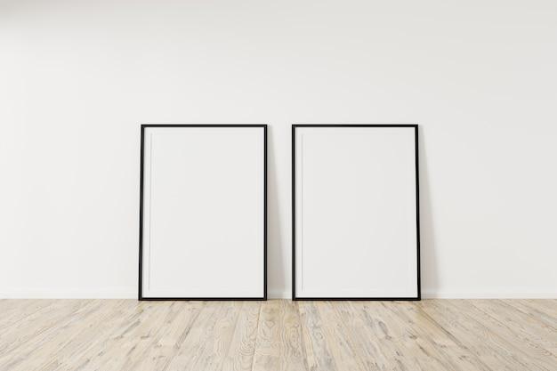 Maquete quadrada de dois quadros pretos