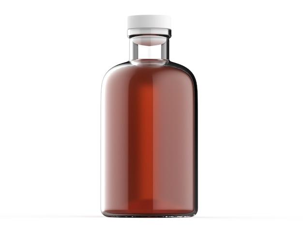 Maquete realista de recipiente de líquido de garrafa de vidro transparente em 3d