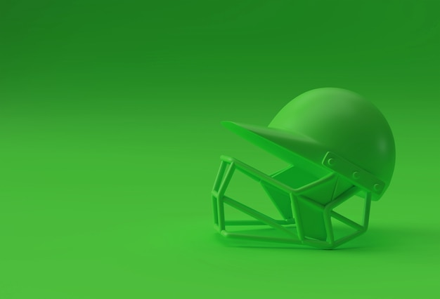 Maquete realista do capacete de críquete em 3d isolada no fundo verde