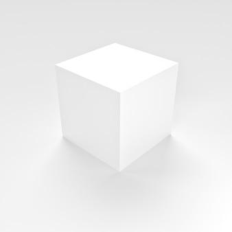Maquete simples da caixa quadrada branca em fundo branco para um mínimo