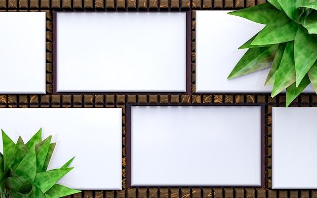 Maquete vazia de pilhas de cartões de visita horizontais organizadas em fundo de madeira. renderização 3d