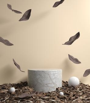 Maquete vazio pódio com folhas secas caindo renderização em 3d