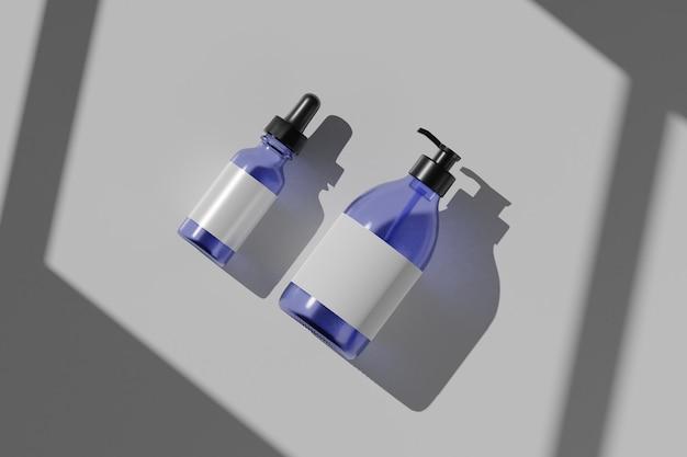 Maquetes cosméticas de garrafa de renderização 3d. simule a cena com pódio para exibição do produto. fundo branco