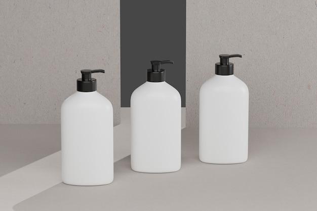 Maquetes cosméticas de garrafa de renderização 3d. simule a cena com pódio para exibição do produto. fundo marrom