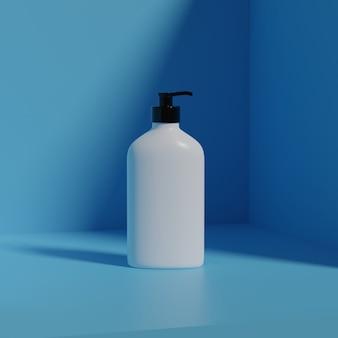 Maquetes cosméticas de renderização 3d. simule a cena com pódio para exibição do produto. fundo azul