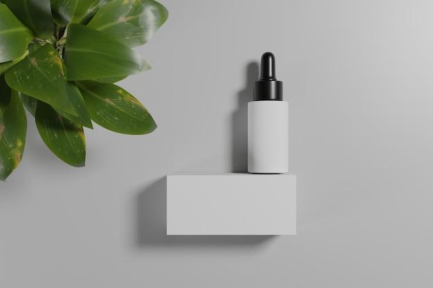 Maquetes cosméticas de renderização 3d. simule a cena com pódio para exibição do produto. fundo branco e planta