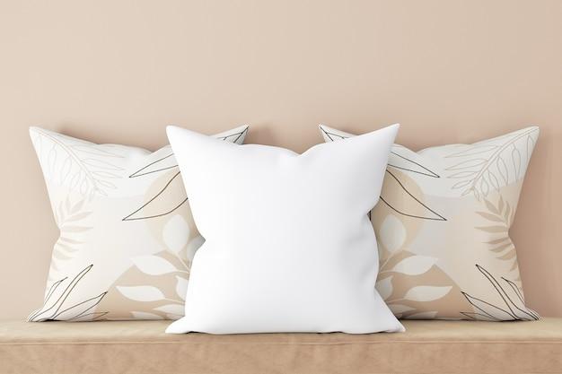 Maquetes de travesseiro branco estilo boh