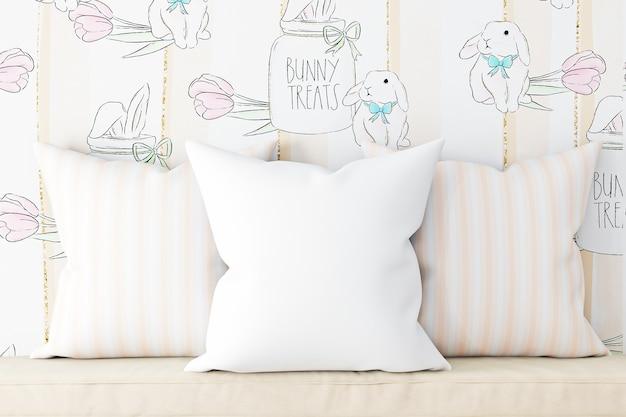 Maquetes de travesseiro de cor branca