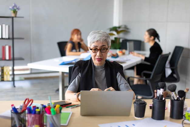 Maquiador feminino sênior, aprendendo aula on-line no computador laptop no escritório em casa.