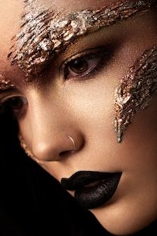Maquiagem futurista. feche o portret. macro