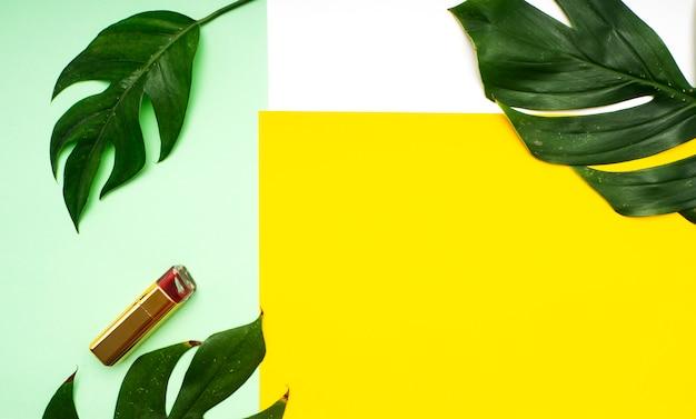 Maquiagem primavera tropical folhas