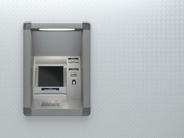 Máquina atm com leitor de cartão. visor, botões, terminal, impressora de recibos. segurança de código pin, banco automático, retirada de dinheiro eletrônico, conceito de acesso à conta bancária. ilustração 3d