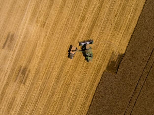 Máquina colhedora trabalhando no campo de trigo das colheitas. vista aérea.