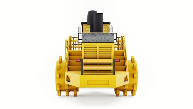 Máquina compactadora de lixo para aterros sanitários. escavadeira industrial. renderização 3d.