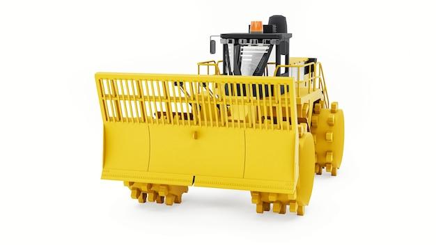 Máquina compactadora de lixo para aterros sanitários. um tipo especial de bulldozer industrial para trabalhar em aterros sanitários. renderização 3d.
