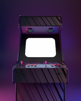 Máquina de arcade de cartaz, estilo retrô de onda!