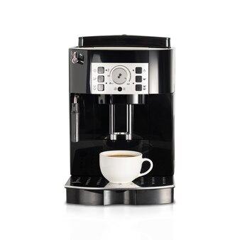 Máquina de café expresso isolada no fundo branco.