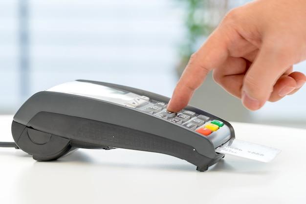 Máquina de cartão de crédito, pagamento para compras online