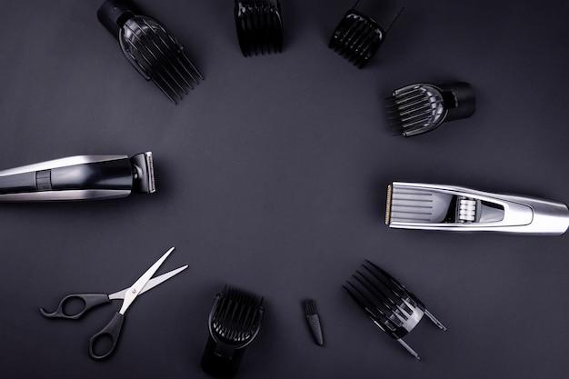 Máquina de cortar cabelo fundo preto