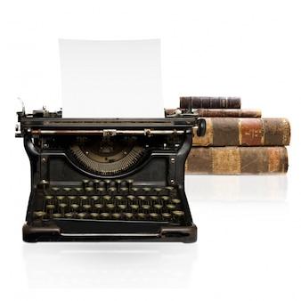 Máquina de escrever com folha de papel