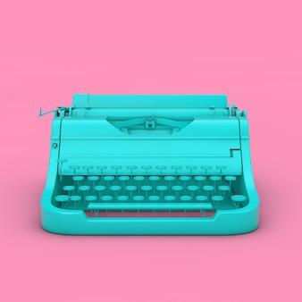 Máquina de escrever retro vintage azul no estilo duotônico em um fundo rosa renderização em 3d