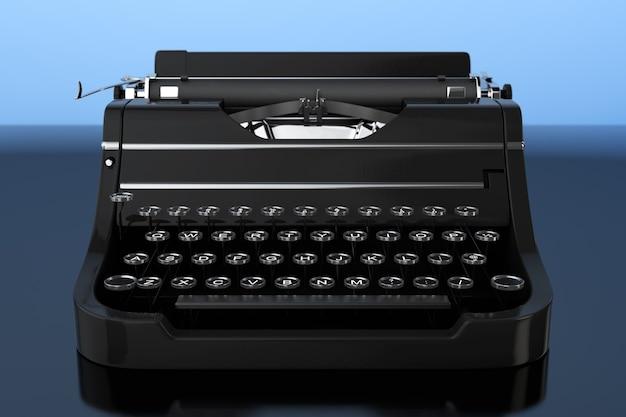 Máquina de escrever retro vintage velha em um fundo azul. renderização 3d.
