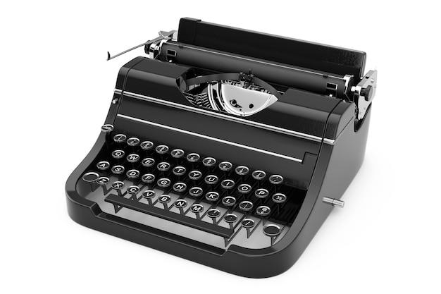 Máquina de escrever retro vintage velha em um fundo branco. renderização 3d.