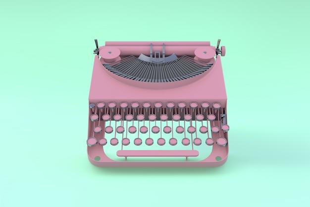 Máquina de escrever rosa flutuando sobre um fundo verde pastel. conceito mínimo.